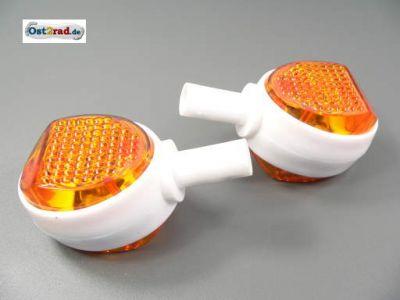 Lenkerblinker Paar Ochsenauge passend für SIMSON MZ ES weiß-orange