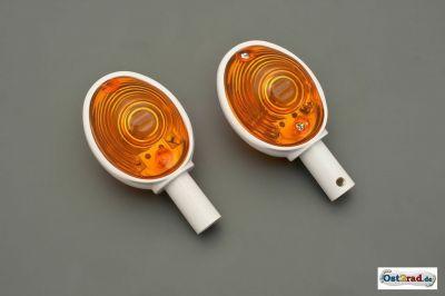 Lenkerblinker Ochsenauge 1 Paar passend für MZ SIMSON IWL weiß-orange