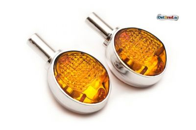 Lenkerblinker Paar Ochsenauge passend für SIMSON MZ ES chrom-orange