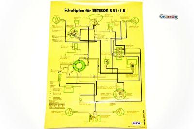 poster schaltplan simson s51 1b. Black Bedroom Furniture Sets. Home Design Ideas