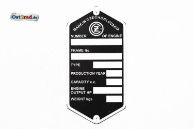 Typenschild blanko CZ 125 - 350 Englisch