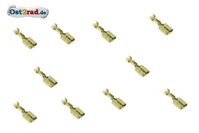 10er Pack Flachsteckhülse unisoliert mit Zunge 6,3 mm