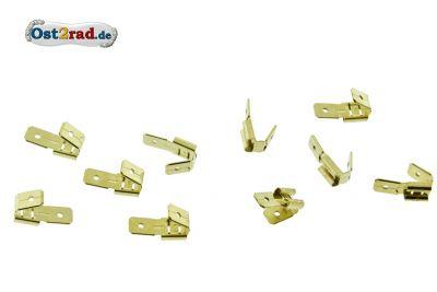 10x 2-fach-Flachsteckhülse mit Abzweig unisoliert 6,3x 0,8 mm