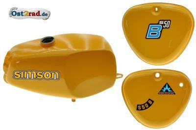 2.Wahl Büffeltank Set mit Deckel für Simson S50 S51, Saharabraun I, innen versiegelt