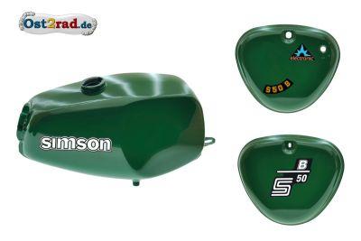 2.Wahl Büffeltank Set mit Deckel für Simson S50 S51, billiard-grün, innen versiegelt