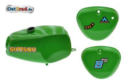 2.Wahl Büffeltank Set mit Deckel für Simson S50 S51, Gelbgrün, innen versiegelt