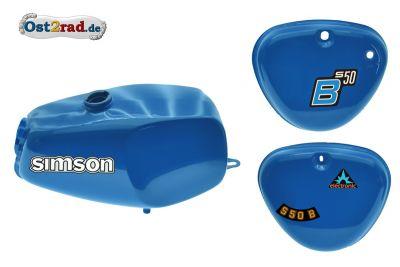 2.Wahl Büffeltank Set mit Deckel für Simson S50 S51, MediumBlue, innen versiegelt