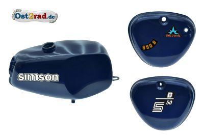 2.Wahl Büffeltank Set mit Deckel für Simson S50 S51, Perlblau, innen versiegelt