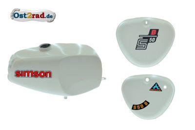 2.Wahl Büffeltank Set mit Deckel für Simson S50 S51, Weiß, innen versiegelt