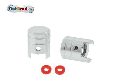 2x Ventilkappen KOLBEN Alu silber eloxiert inkl. O-Ringe