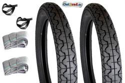Jeu de pneus Mitas avec chambres MZ ETZ125 ETZ150 profil route