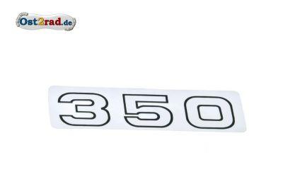 """Aufkleber """"350"""" waagerecht weiße Schrift, schwarzer Rand"""