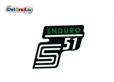 Aufkleber für Seitendeckel S51 Enduro in grün