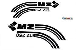 Aufkleber Satz Tank Seitendeckel passend für MZ ETZ 250 schwarz