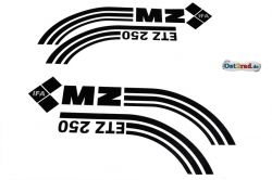 Jeu adhésifs noirs réservoir caches latéraux MZ ETZ 250