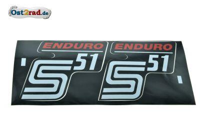 Aufkleber PAAR Seitendeckel S51 Enduro rot - Großbuchstaben