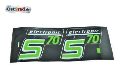 Aufkleber PAAR Seitendeckel S70 electronic hellgrün