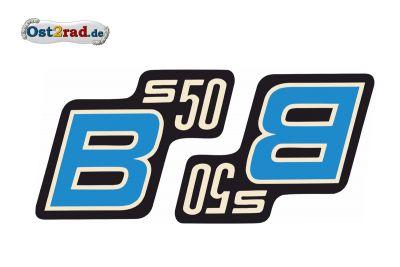 Aufkleber Paar Seitendeckel für SIMSON S50B blau, Originaloptik