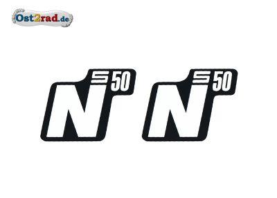 Aufkleber Paar Seitendeckel SIMSON S50 N weiß