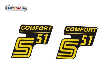 Aufkleber Satz Seitendeckel SIMSON S51 COMFORT gelb