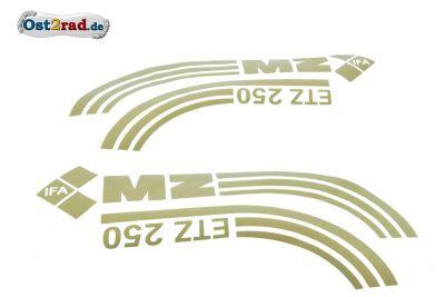 Jeu adhésifs or réservoir caches latéraux MZ ETZ 250