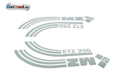 Jeu adhésifs gris métallisés réservoir caches latéraux MZ ETZ 250