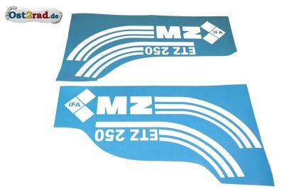 Jeu adhésifs blancs réservoir caches latéraux MZ ETZ 250