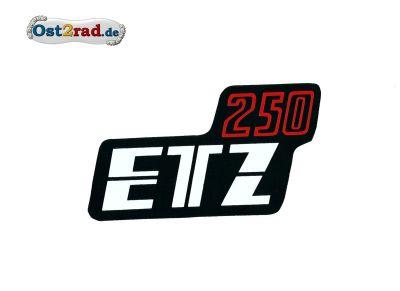 Aufkleber für Seitendeckel MZ ETZ250 schwarz/rot