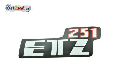 Aufkleber für Seitendeckel passend für MZ ETZ 251 weiss rot