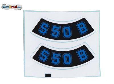 Aufkleber PAAR Seitendeckel SIMSON S50 geschwungen blau