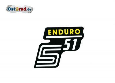 Aufkleber für Seitendeckel S51 Enduro in gelb