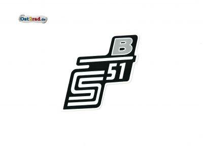 Aufkleber für Seitendeckel S51 B in silber - weiß