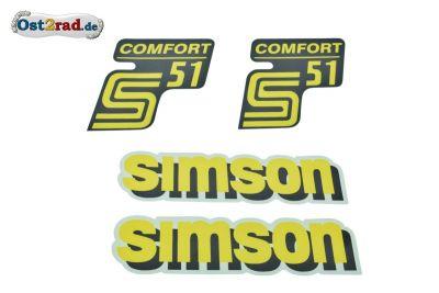 Aufklebersatz KOMPLETT für SIMSON S51 COMFORT gelb Originaloptik