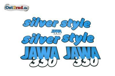 Aufklebersatz silver style JAWA 640 in blau