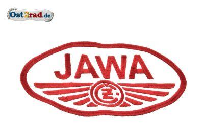 Aufnäher JAWA CZ Logo oval weiss rot - 20x11cm