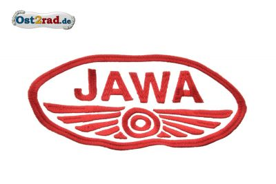 Patch Oval Jawa logo large white / red