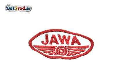Aufnäher JAWA Logo oval weiss rot - 9x5cm