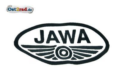 Aufnäher JAWA Logo oval weiss schwarz - 20x11cm