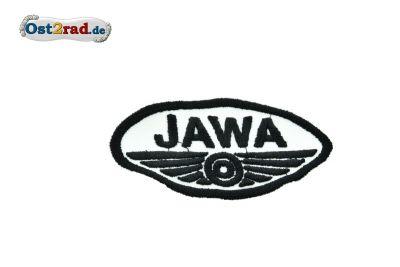 Aufnäher Jawa Logo oval klein weiß/schwarz