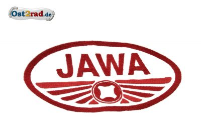 Aufnäher JAWA Pionyr Logo oval weiss rot - 20x11cm