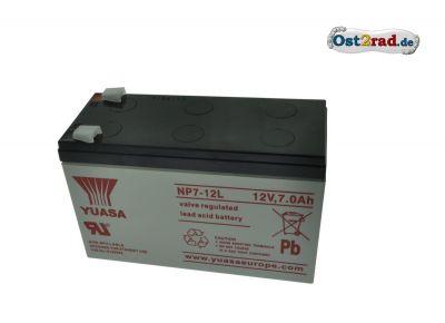 Batterie 12V 7Ah (NP7-12L) Blei-Säure-Akku, verschlossen, wartungsfrei - B 15 x H 9,5 x T 6,5cm