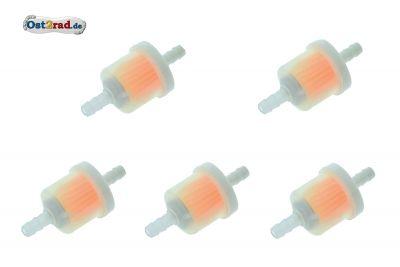 5 Stück Leitungsfilter, Benzinfilter Plast 5-6 mm Anschluss universal