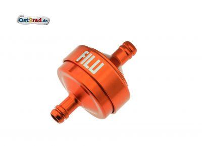 FILU Benzinfilter - Alu orange eloxiert für Benzinschlauch 5x8,2 mm