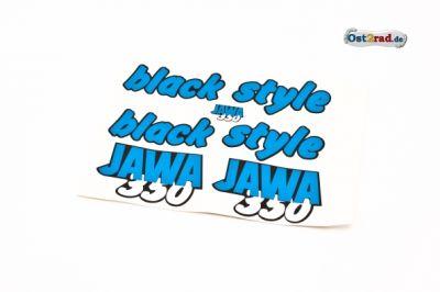 Aufklebersatz black style JAWA 640 in blau