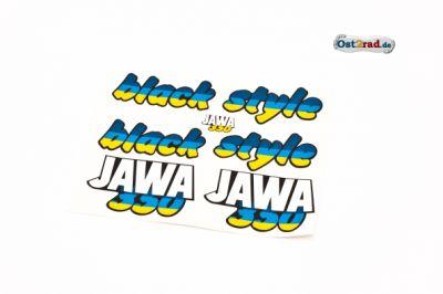 Aufklebersatz black style JAWA 640 in blau gelb