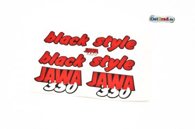 Aufklebersatz black style JAWA 640 in rot