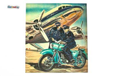 Plaque en tôle peinte MZ ES 250/1 Aeroport