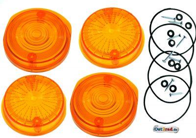 4 Cabochons ronds de clignotant MZ TS  ETZ orange avec marquage E