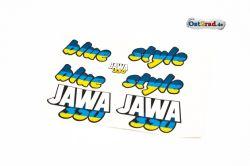 Aufklebersatz blue style JAWA 640 in blau gelb