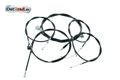 Jeu de câbles noirs  MZ ETZ TS 250 avec frein avant tambour